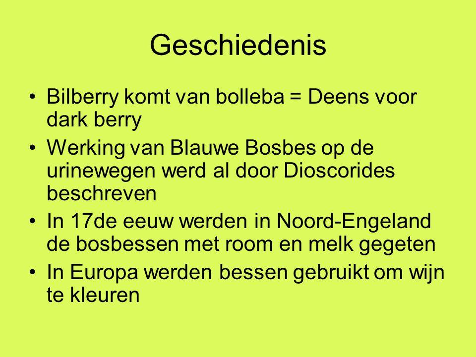 Geschiedenis Bilberry komt van bolleba = Deens voor dark berry