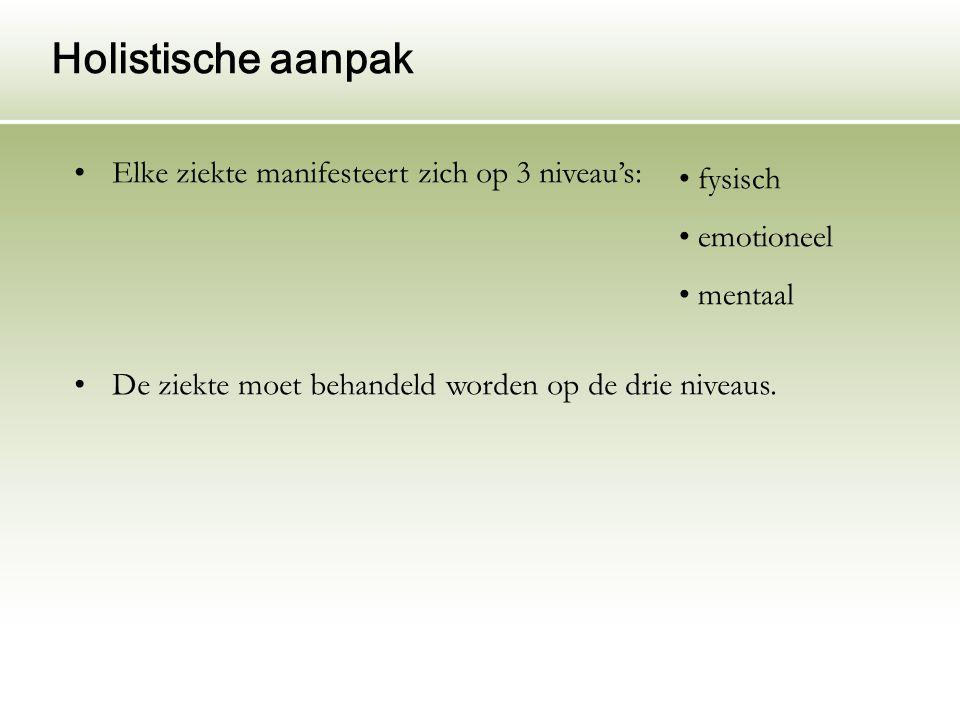 Holistische aanpak Elke ziekte manifesteert zich op 3 niveau's: