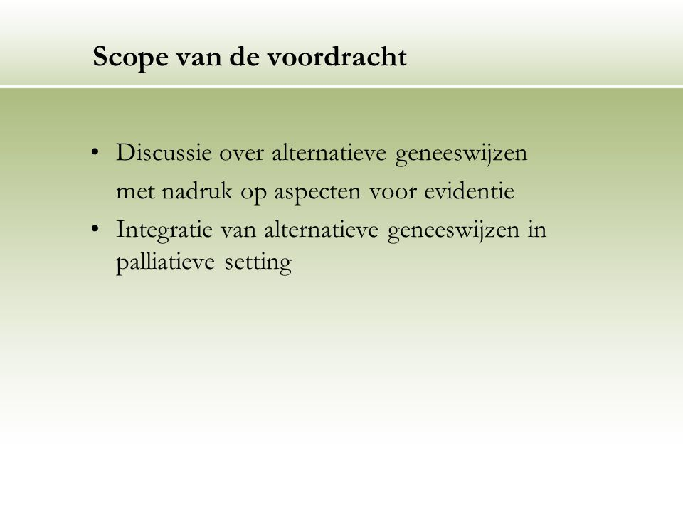Scope van de voordracht