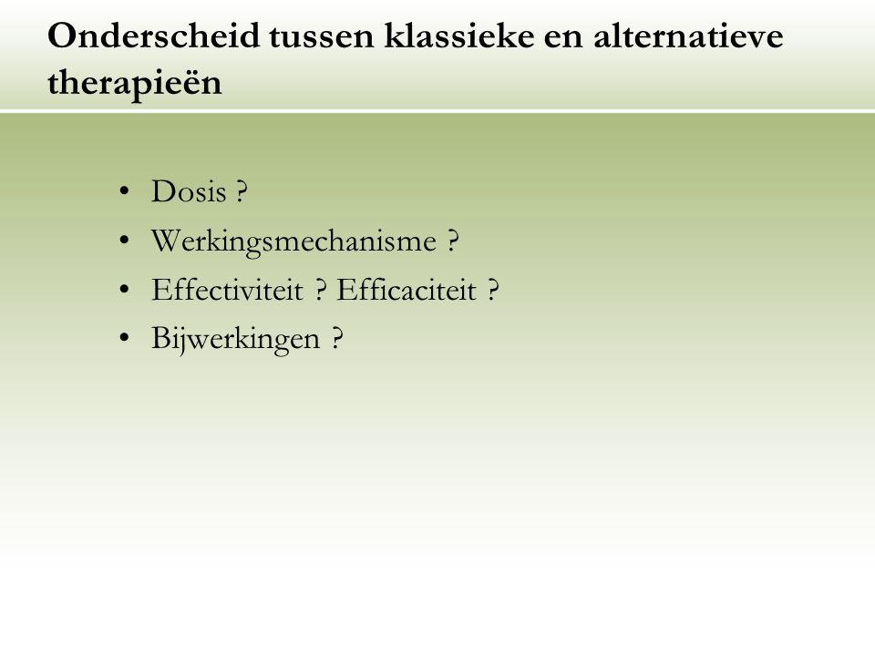 Onderscheid tussen klassieke en alternatieve therapieën