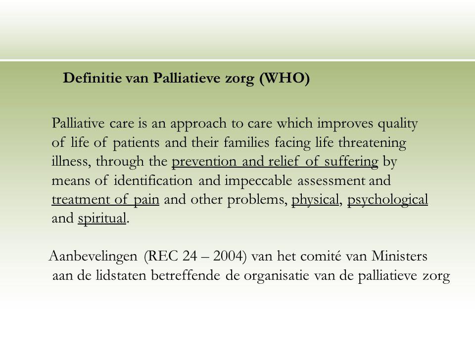 Definitie van Palliatieve zorg (WHO)