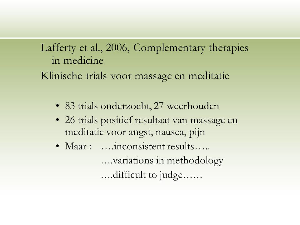 Lafferty et al., 2006, Complementary therapies in medicine