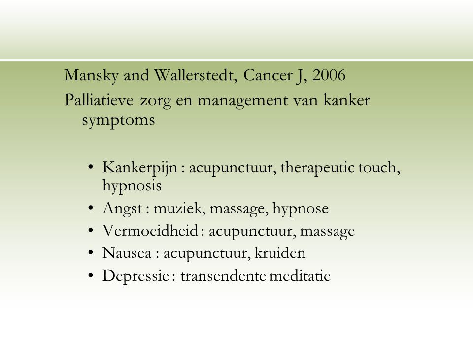 Mansky and Wallerstedt, Cancer J, 2006
