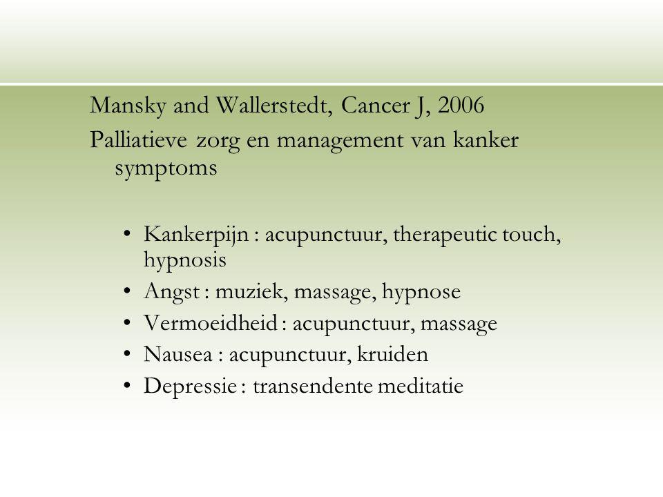 Mansky and Wallerstedt, Cancer J, 2006