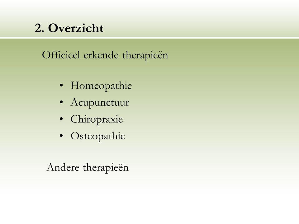 2. Overzicht Officieel erkende therapieën Homeopathie Acupunctuur
