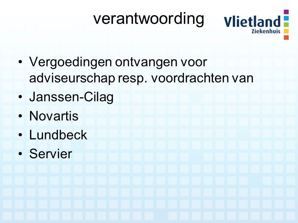 verantwoording Vergoedingen ontvangen voor adviseurschap resp. voordrachten van. Janssen-Cilag. Novartis.