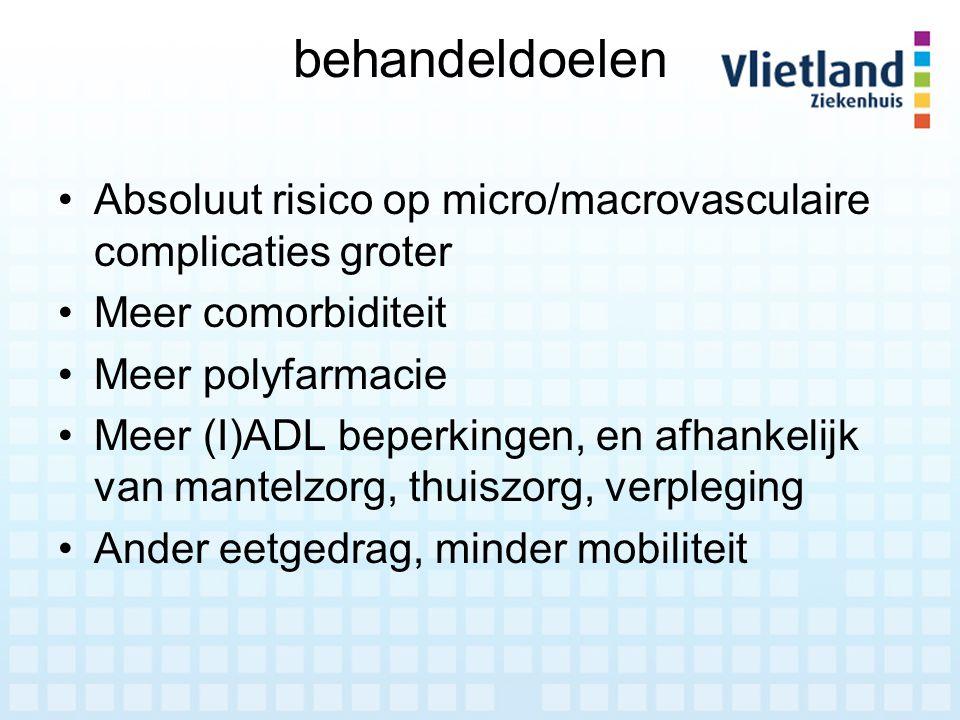 behandeldoelen Absoluut risico op micro/macrovasculaire complicaties groter. Meer comorbiditeit. Meer polyfarmacie.
