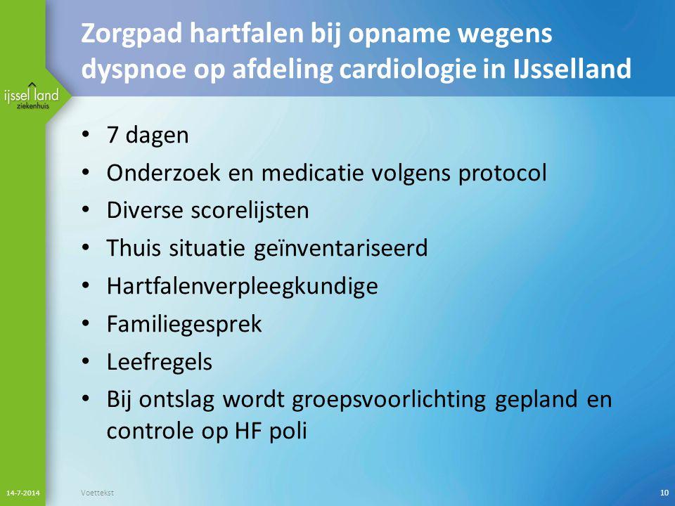 Zorgpad hartfalen bij opname wegens dyspnoe op afdeling cardiologie in IJsselland