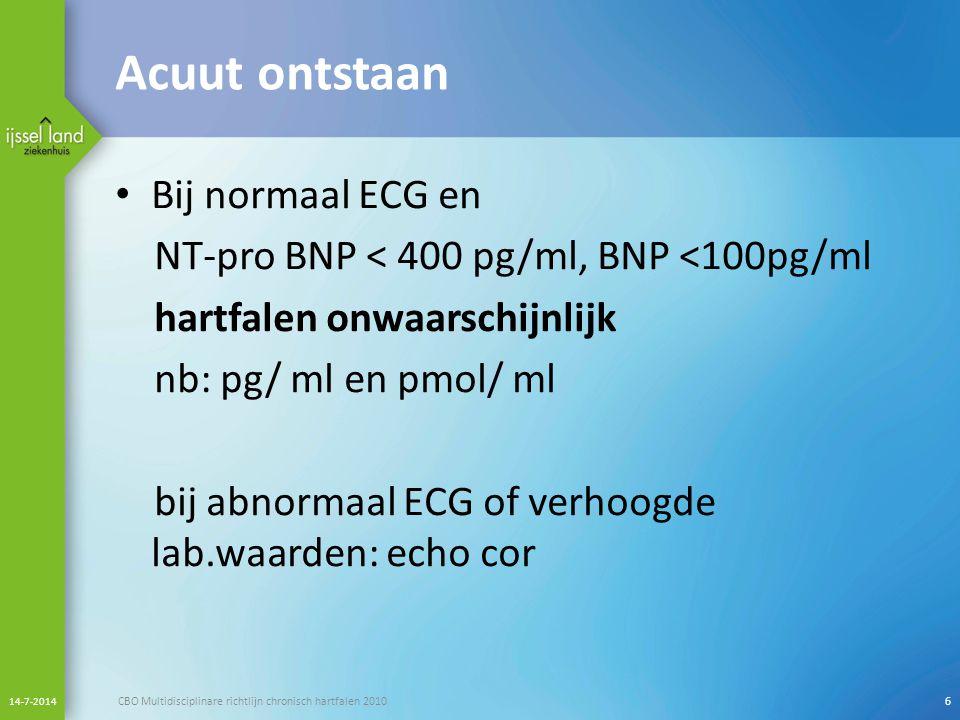 Acuut ontstaan Bij normaal ECG en