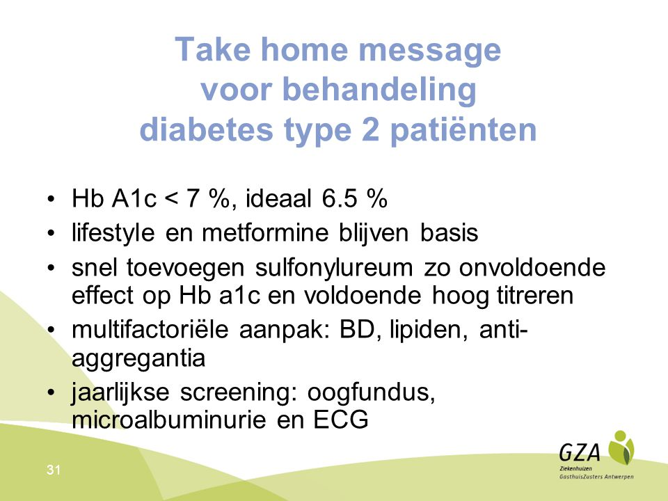 Take home message voor behandeling diabetes type 2 patiënten