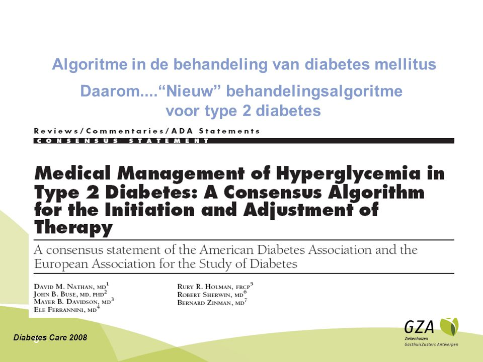 Algoritme in de behandeling van diabetes mellitus