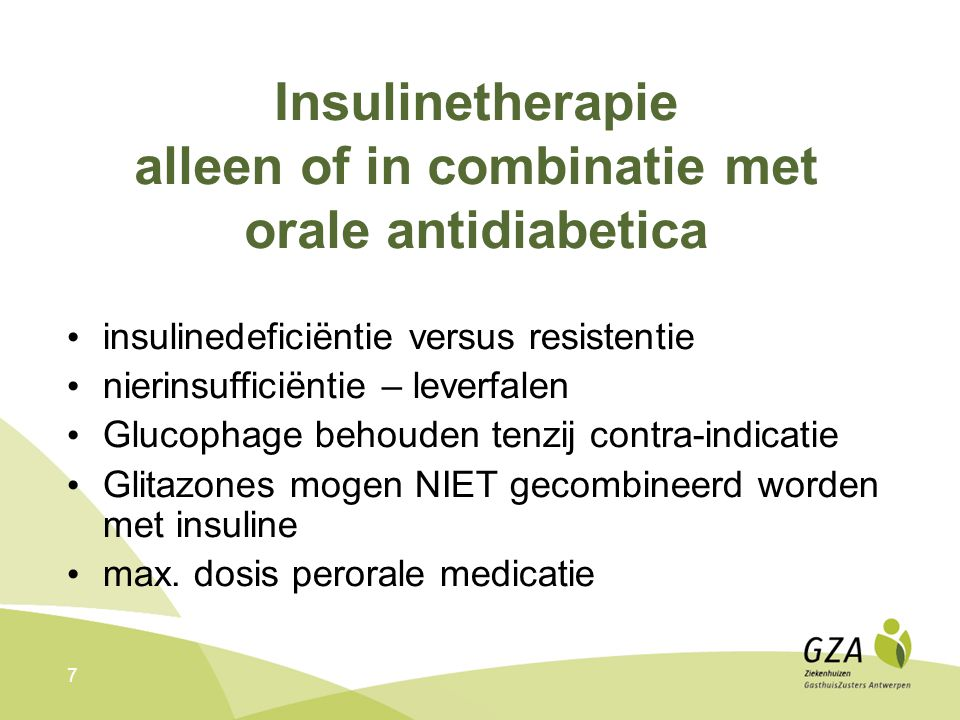 Insulinetherapie alleen of in combinatie met orale antidiabetica