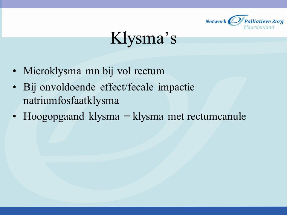 Klysma's Microklysma mn bij vol rectum