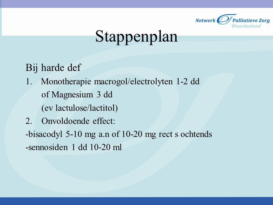 Stappenplan Bij harde def Monotherapie macrogol/electrolyten 1-2 dd