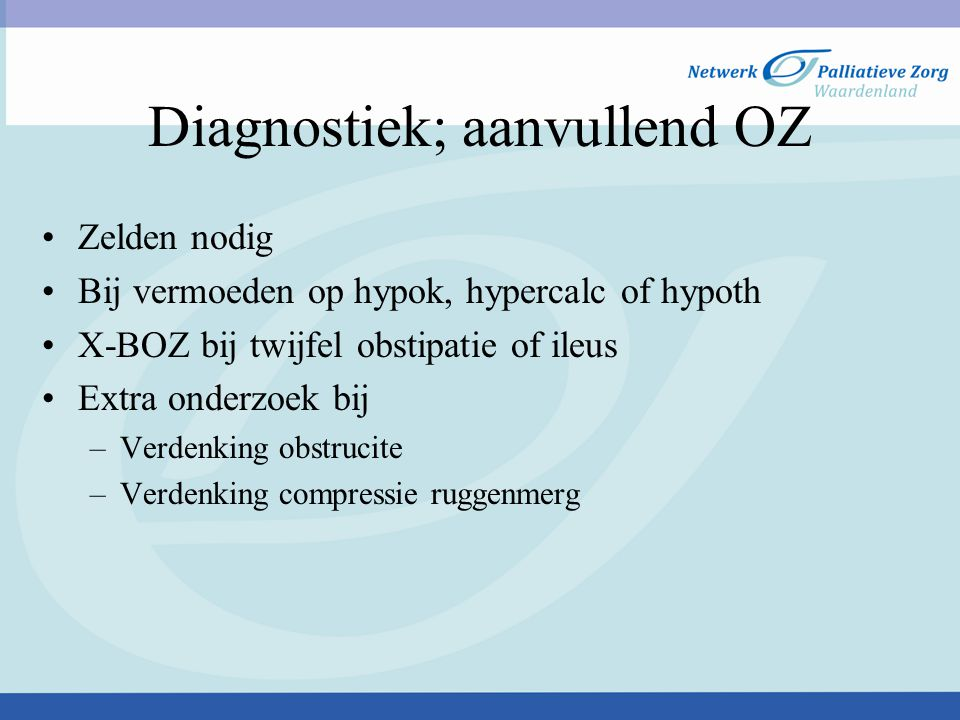 Diagnostiek; aanvullend OZ