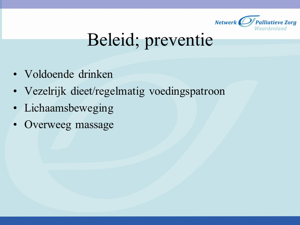 Beleid; preventie Voldoende drinken