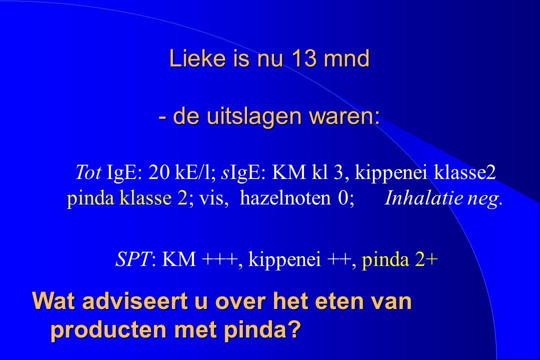 Lieke is nu 13 mnd - de uitslagen waren: