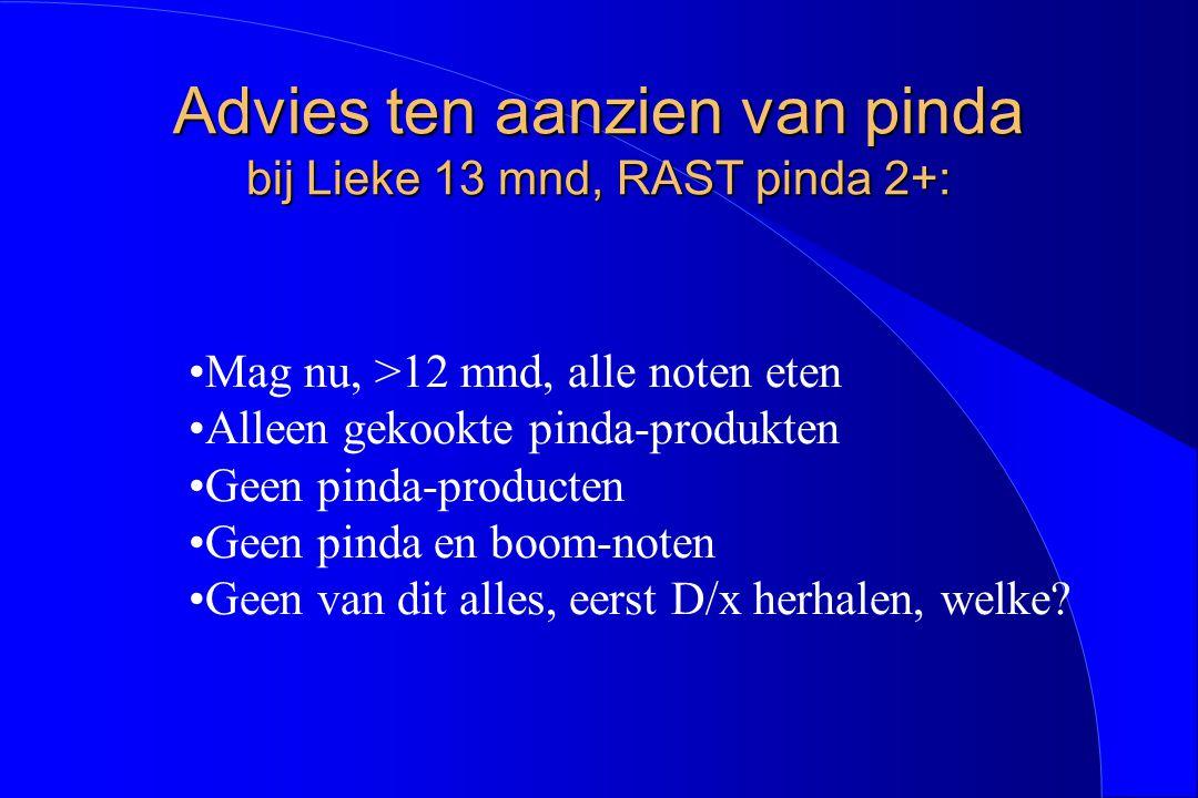 Advies ten aanzien van pinda bij Lieke 13 mnd, RAST pinda 2+: