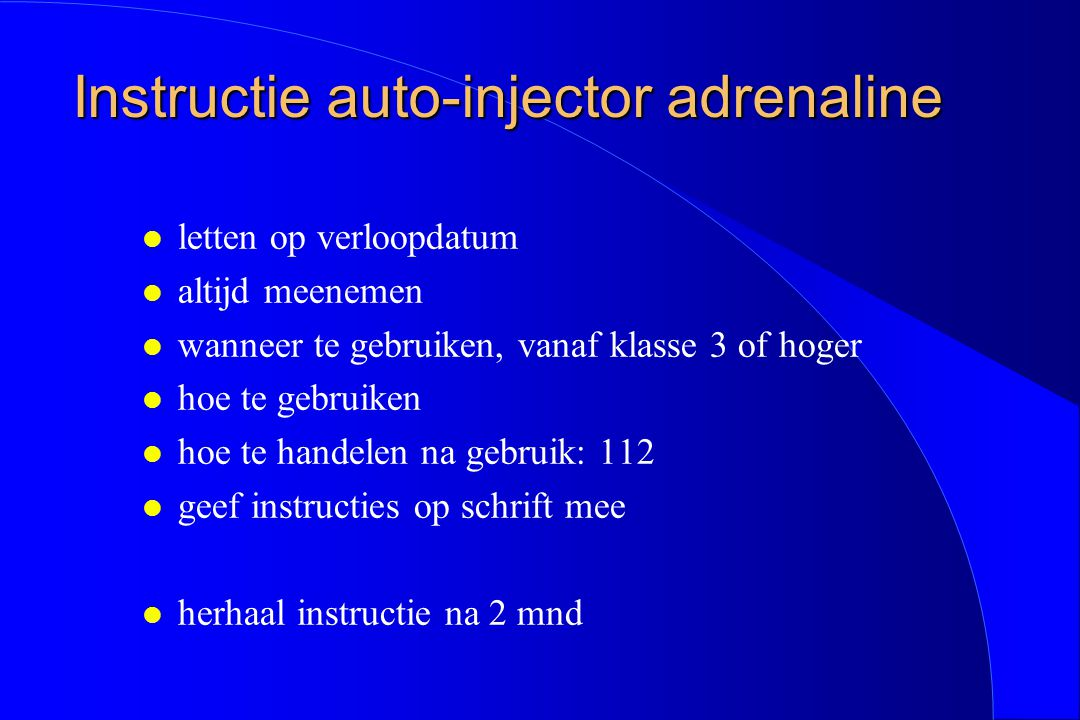 Instructie auto-injector adrenaline
