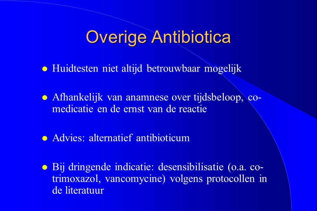 Overige Antibiotica Huidtesten niet altijd betrouwbaar mogelijk