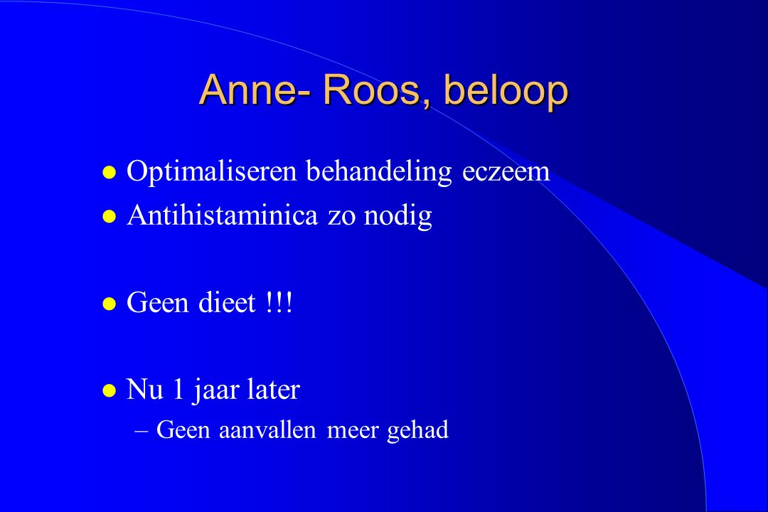 Anne- Roos, beloop Optimaliseren behandeling eczeem