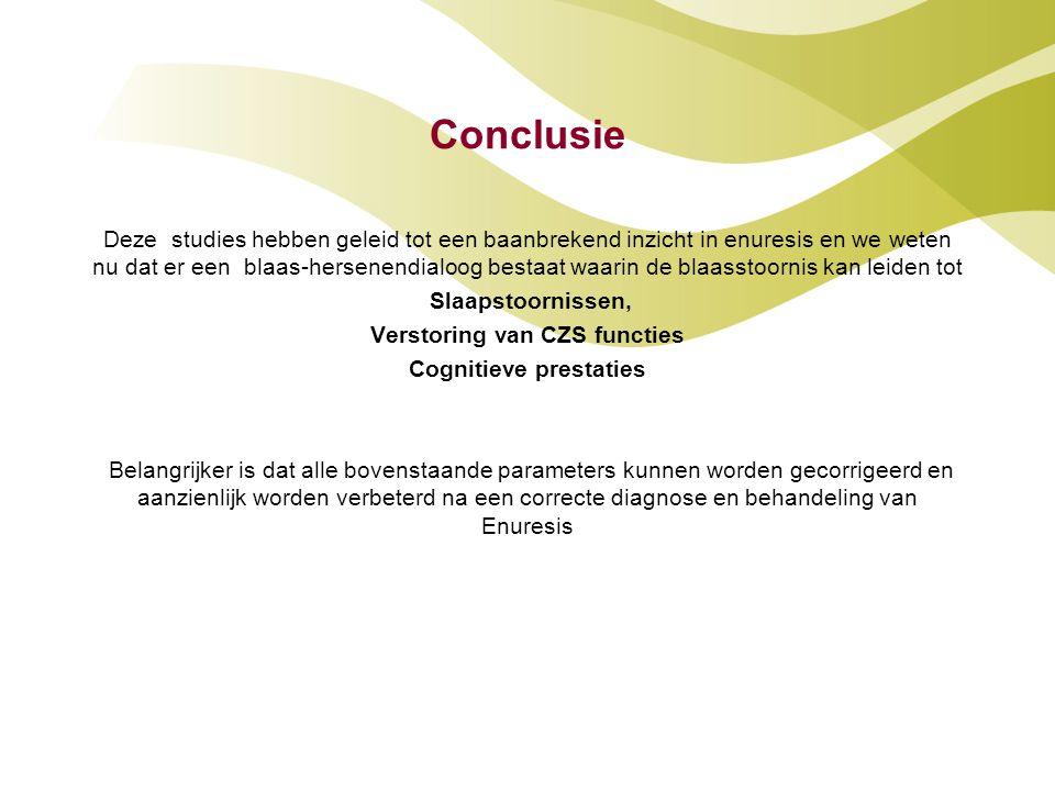 Verstoring van CZS functies Cognitieve prestaties