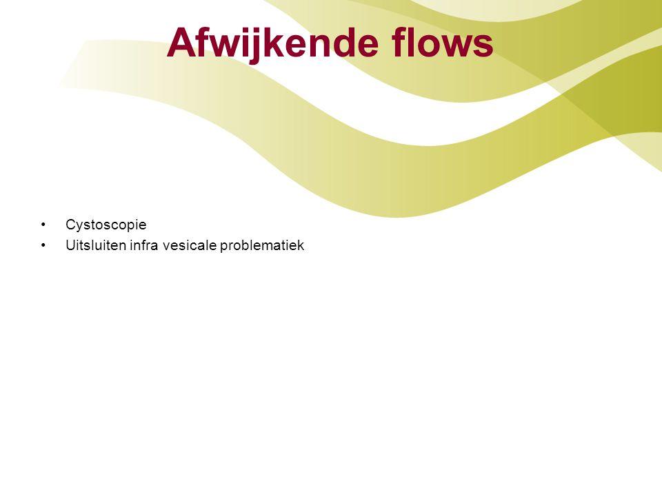 Afwijkende flows Cystoscopie Uitsluiten infra vesicale problematiek