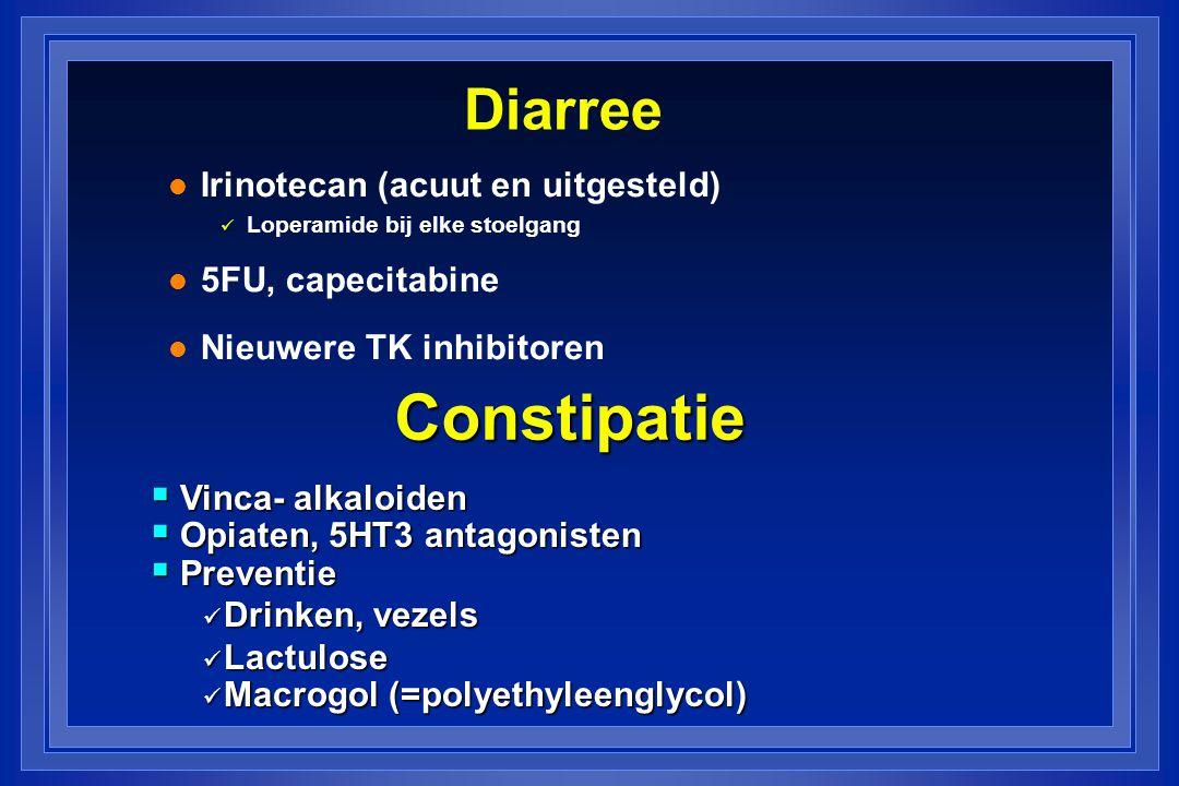 Constipatie Diarree Irinotecan (acuut en uitgesteld) 5FU, capecitabine