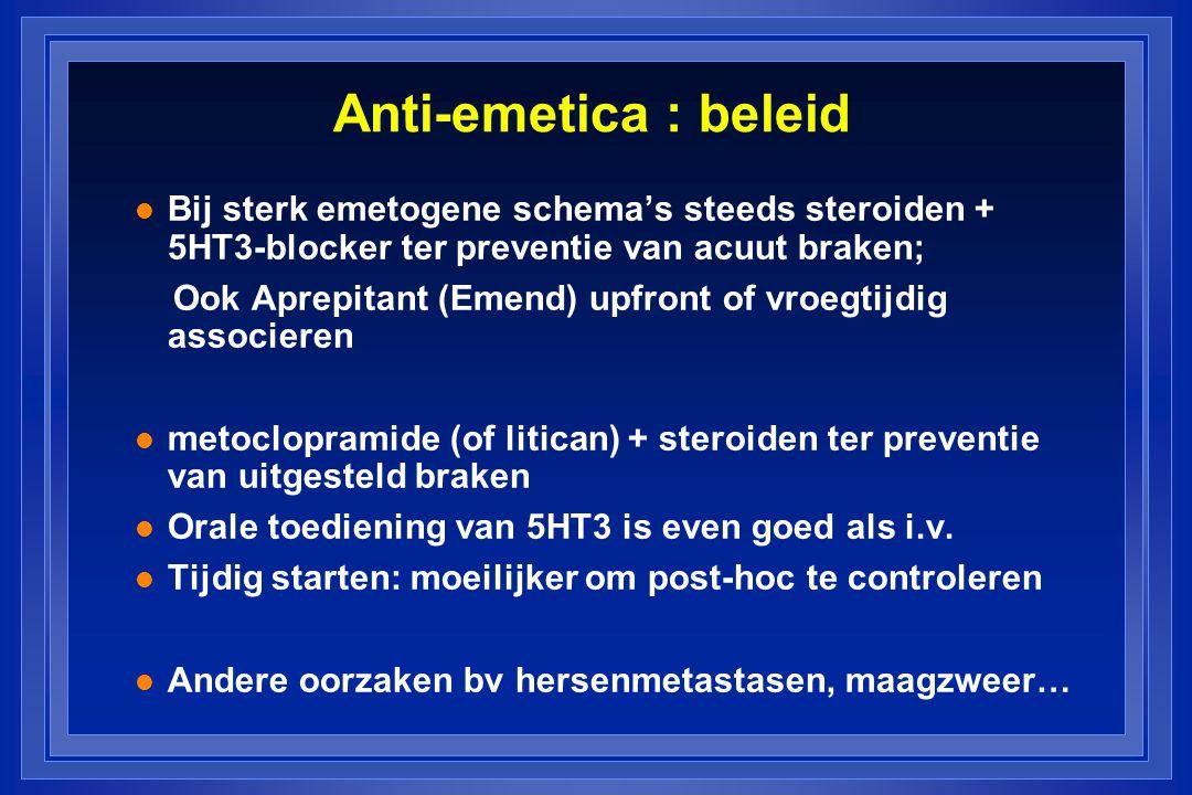 Anti-emetica : beleid Bij sterk emetogene schema's steeds steroiden + 5HT3-blocker ter preventie van acuut braken;