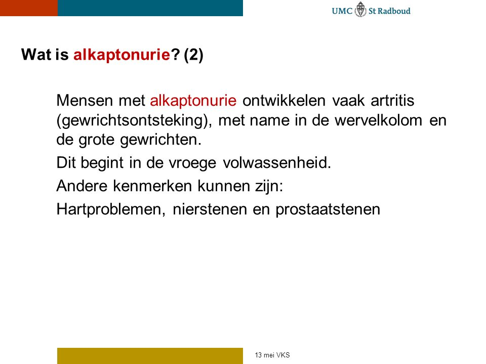 Wat is alkaptonurie (2)