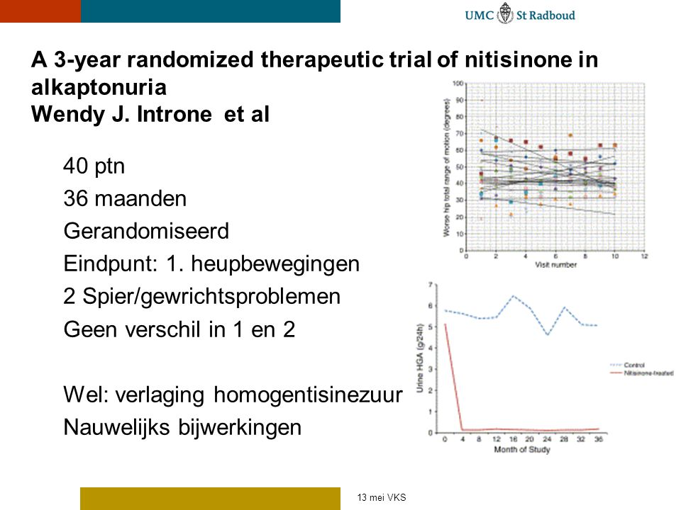 A 3-year randomized therapeutic trial of nitisinone in alkaptonuria Wendy J. Introne et al