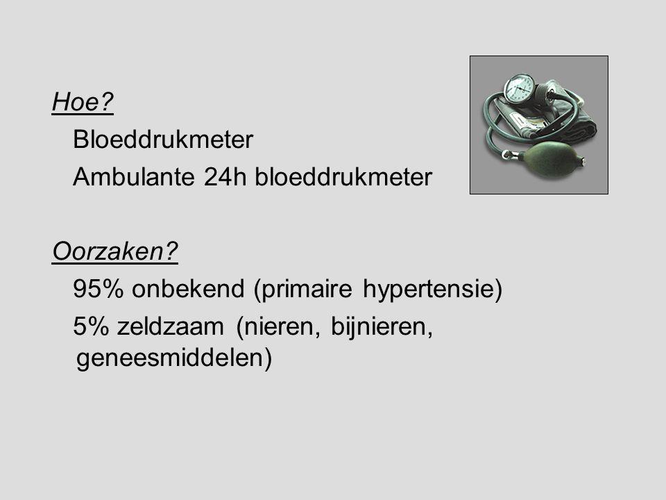 Hoe Bloeddrukmeter. Ambulante 24h bloeddrukmeter. Oorzaken 95% onbekend (primaire hypertensie)