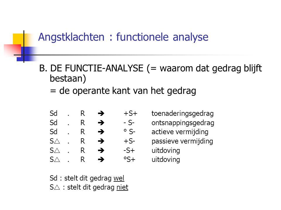 Angstklachten : functionele analyse