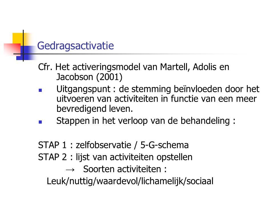 Gedragsactivatie Cfr. Het activeringsmodel van Martell, Adolis en Jacobson (2001)