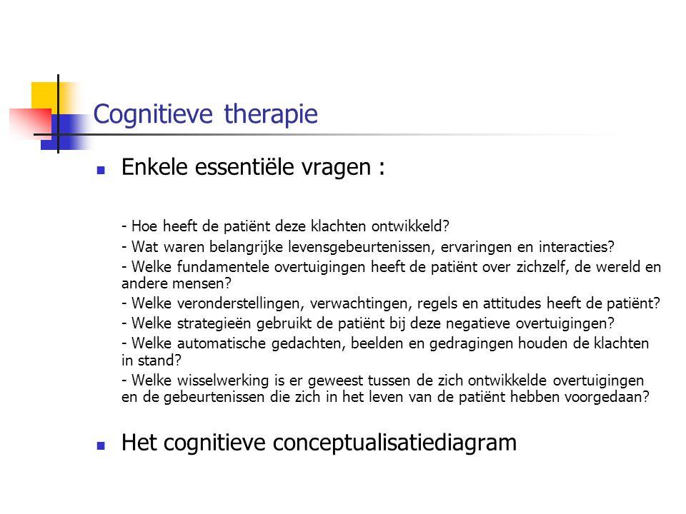 Cognitieve therapie Enkele essentiële vragen :