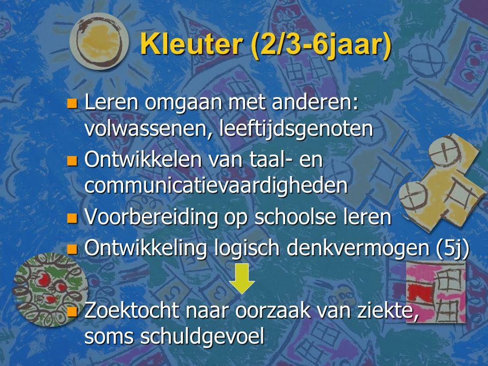 Kleuter (2/3-6jaar) Leren omgaan met anderen: volwassenen, leeftijdsgenoten. Ontwikkelen van taal- en communicatievaardigheden.