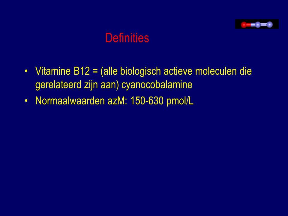 Definities Vitamine B12 = (alle biologisch actieve moleculen die gerelateerd zijn aan) cyanocobalamine.