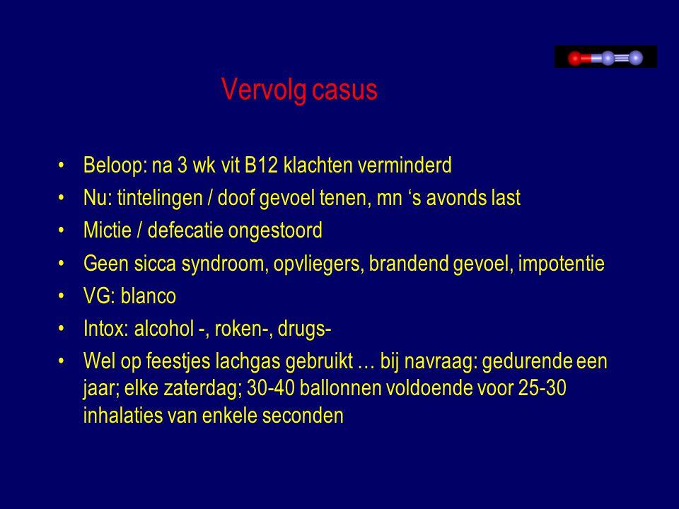 Vervolg casus Beloop: na 3 wk vit B12 klachten verminderd