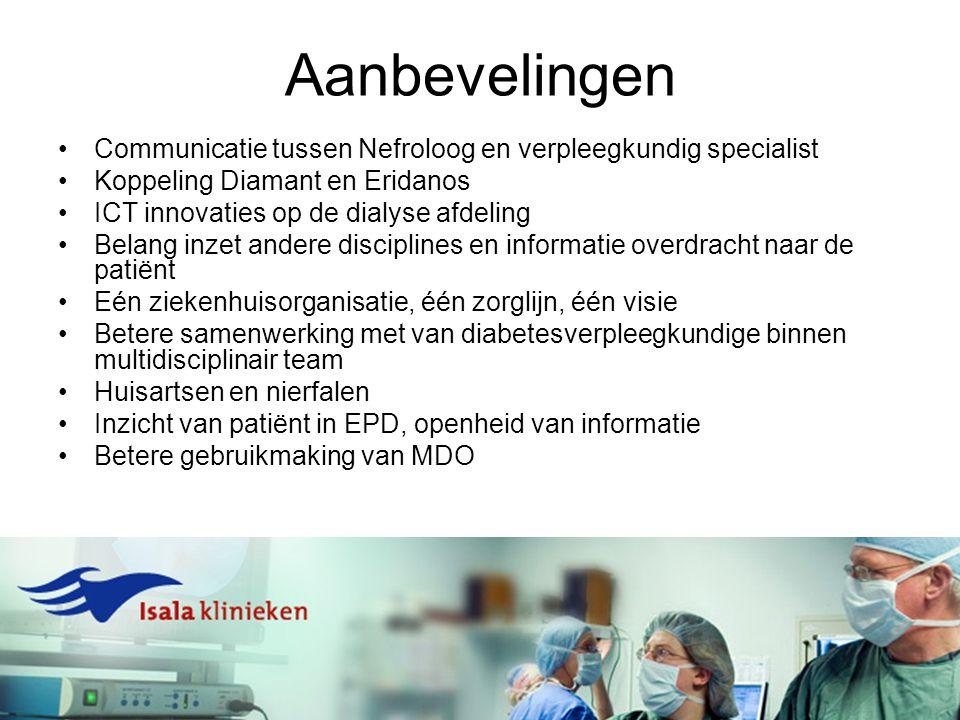 Aanbevelingen Communicatie tussen Nefroloog en verpleegkundig specialist. Koppeling Diamant en Eridanos.