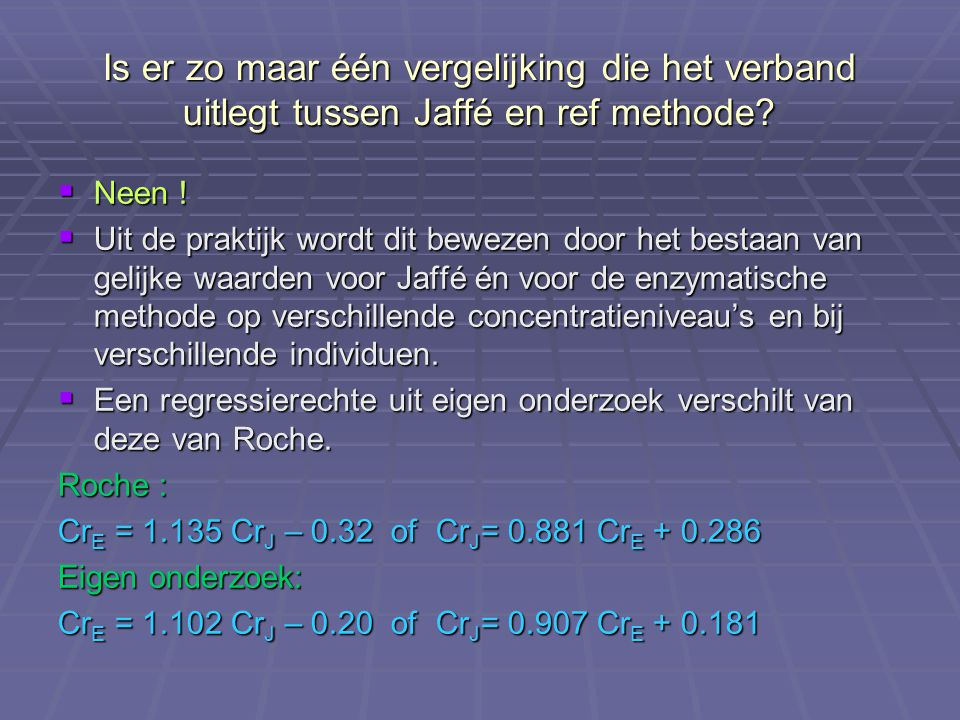 Is er zo maar één vergelijking die het verband uitlegt tussen Jaffé en ref methode