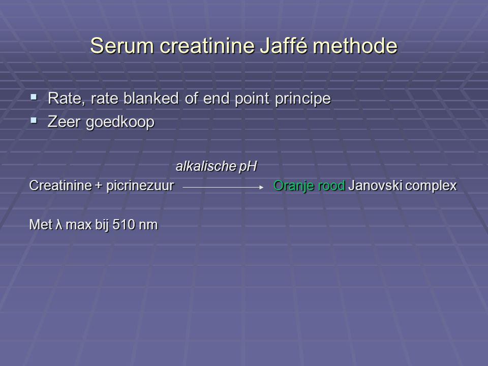 Serum creatinine Jaffé methode