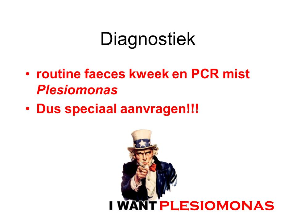 Diagnostiek plesiomonas routine faeces kweek en PCR mist Plesiomonas