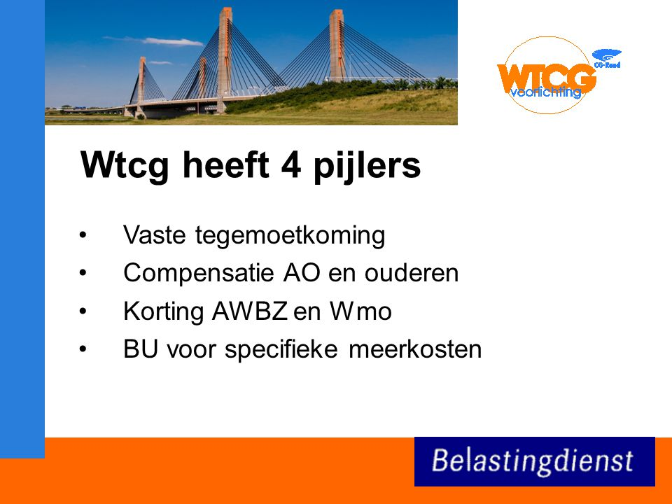 Wtcg heeft 4 pijlers Vaste tegemoetkoming Compensatie AO en ouderen