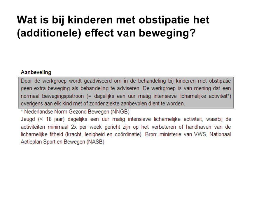 Wat is bij kinderen met obstipatie het (additionele) effect van beweging