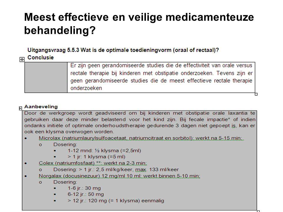 Meest effectieve en veilige medicamenteuze behandeling
