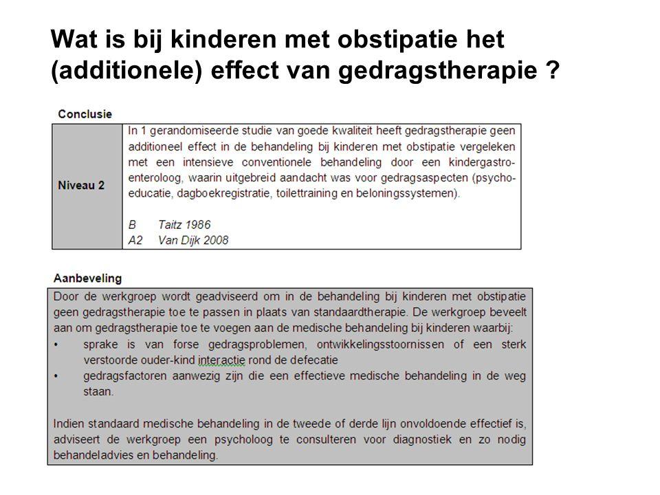 Wat is bij kinderen met obstipatie het (additionele) effect van gedragstherapie