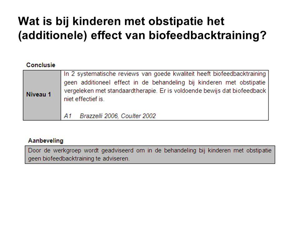 Wat is bij kinderen met obstipatie het (additionele) effect van biofeedbacktraining