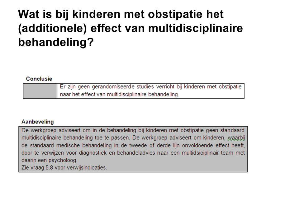 Wat is bij kinderen met obstipatie het (additionele) effect van multidisciplinaire behandeling