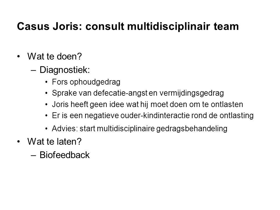 Casus Joris: consult multidisciplinair team