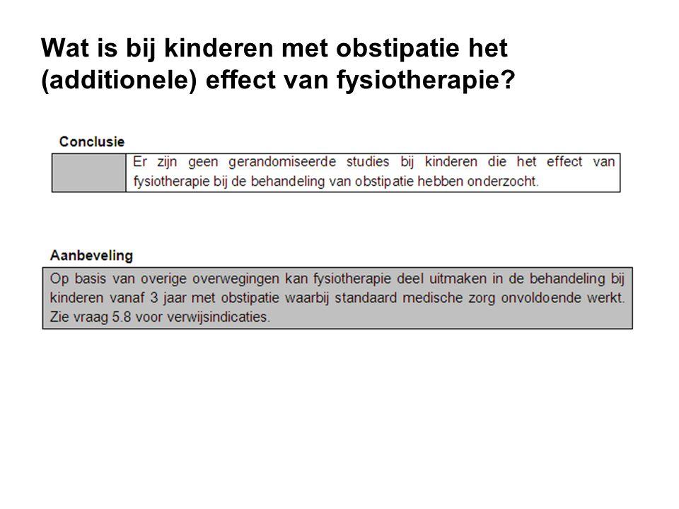 Wat is bij kinderen met obstipatie het (additionele) effect van fysiotherapie